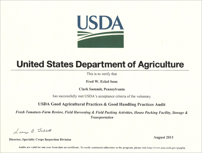 Fred W. Eckel Sons USDA Certificate